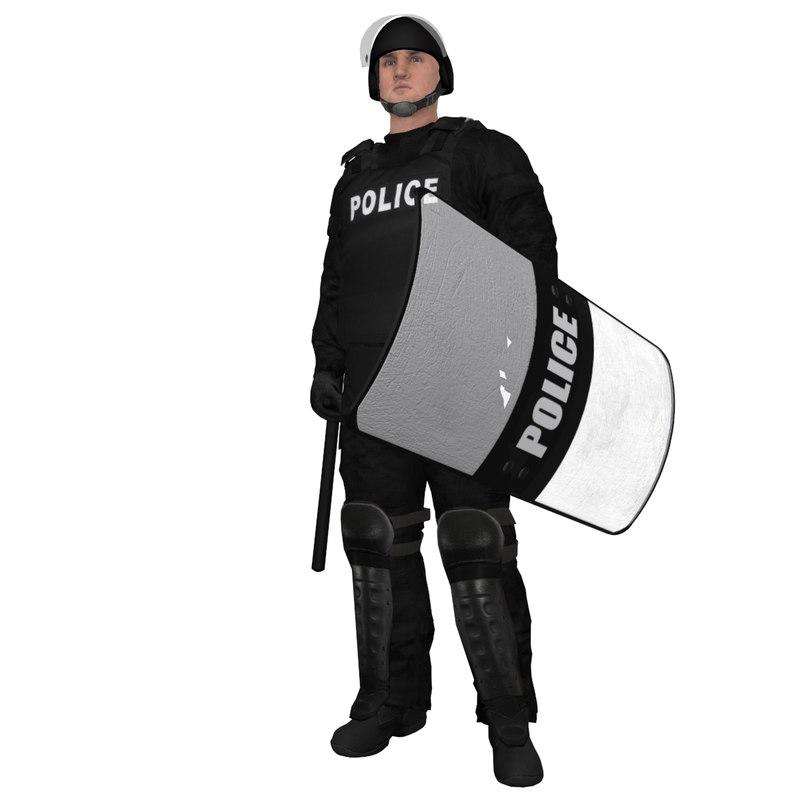3dsmax rigged riot police officer