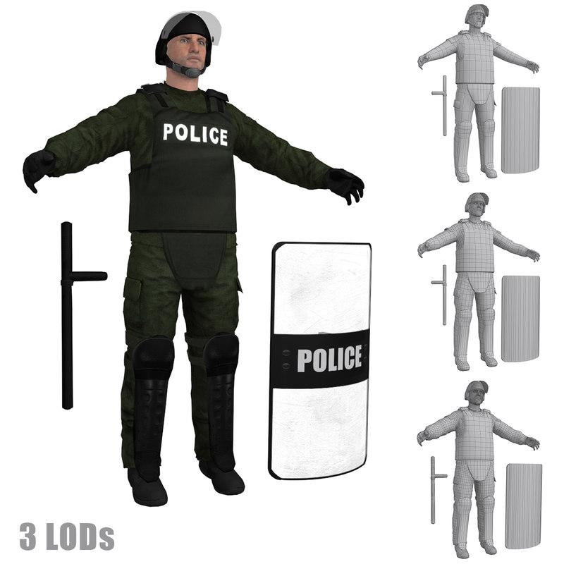 Riot Police 3 LOD's