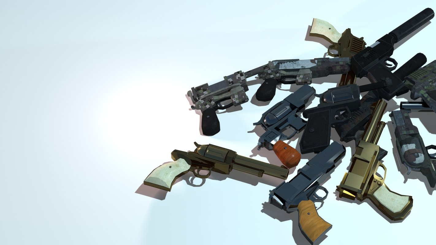 Low Poly Customizable One Handed Guns with HD textures