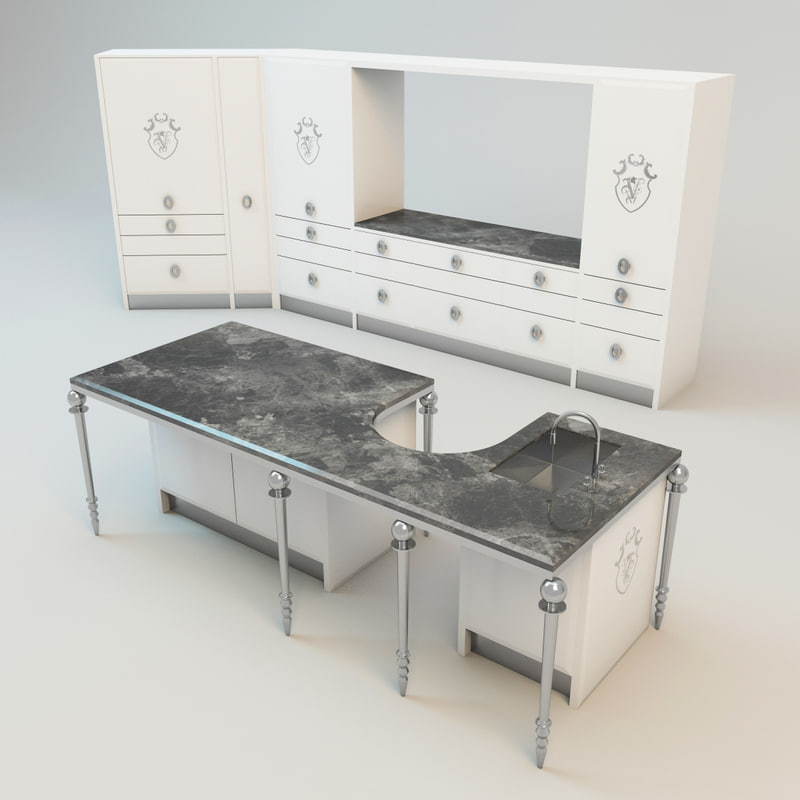 3ds max visionnaire kitchen set