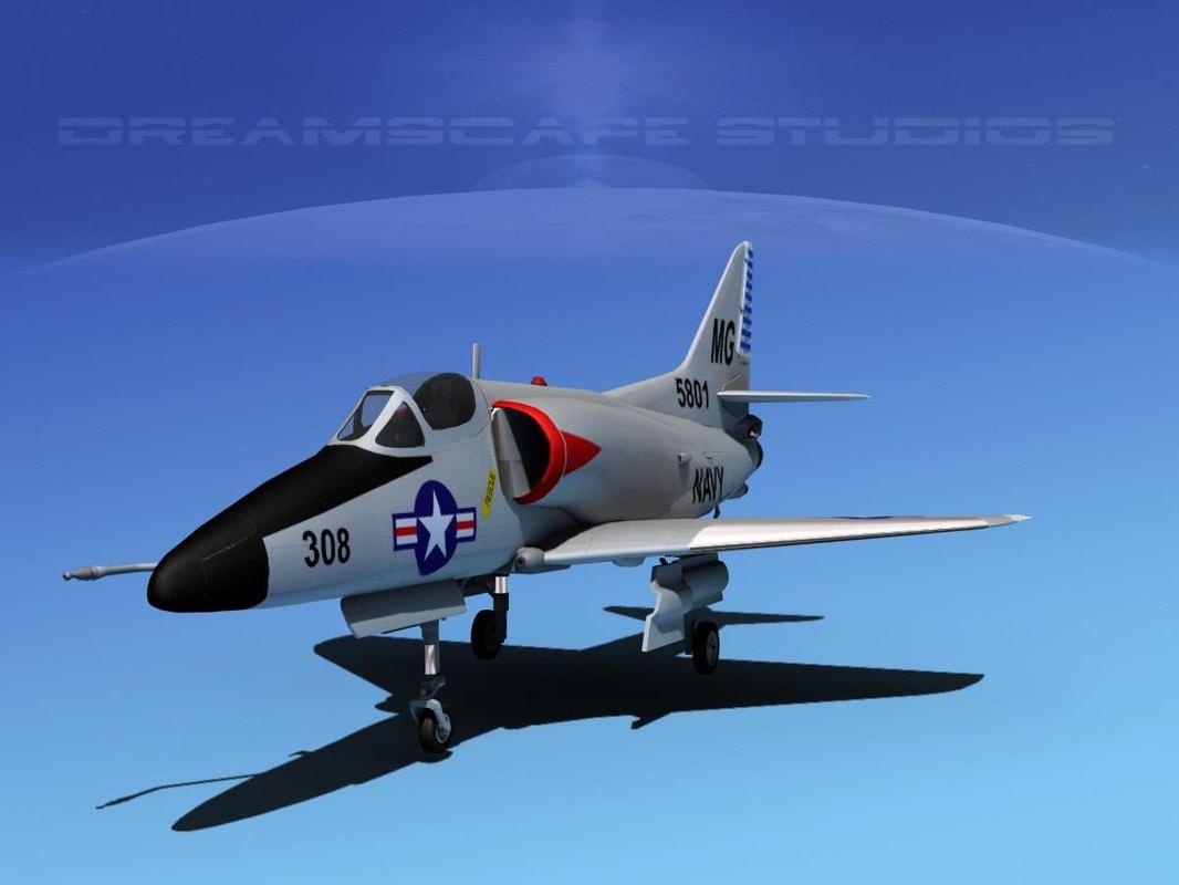 skyhawk douglas a 4 a 4d 3d model