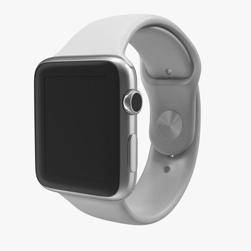 Apple Watch Sport Band White Fluoroelastomer 3d model 00.jpg