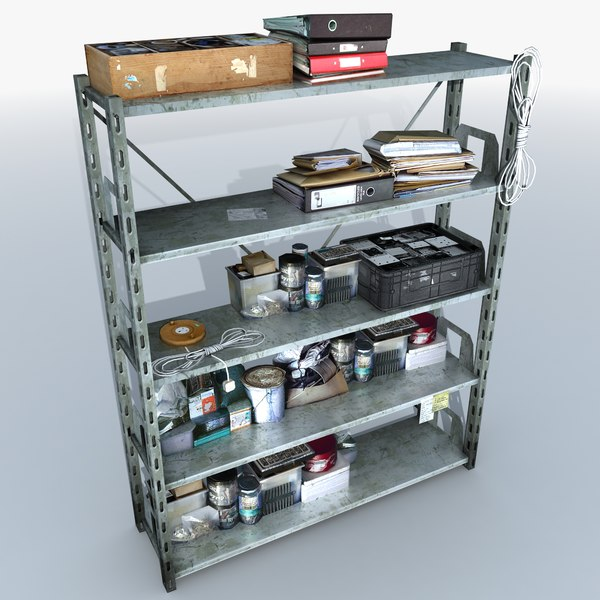Metal Shelving With Clutter (2) 3D Models