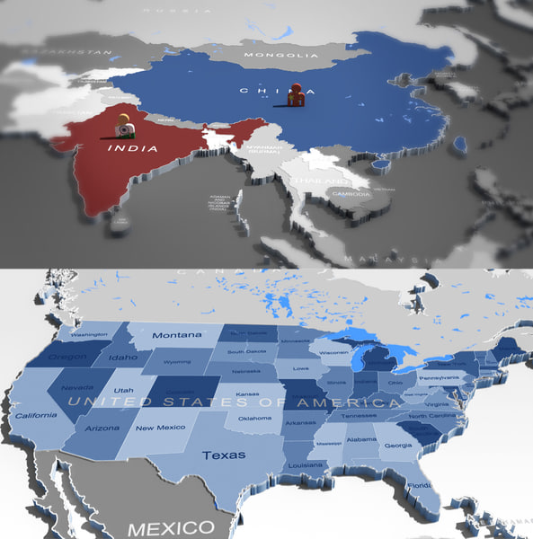 3D WORLDMAP and USA map Texture Maps