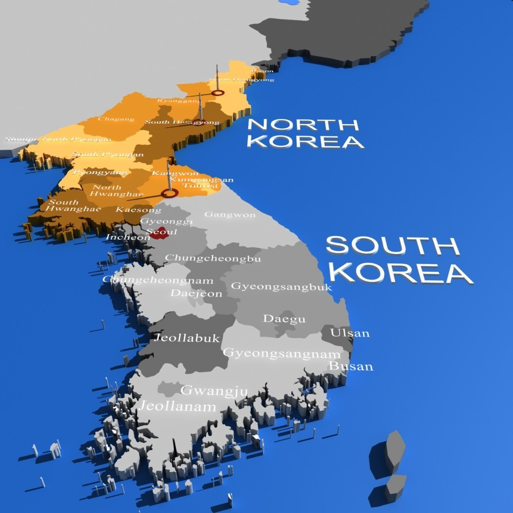 North Korea and 3D WORLDMAP and USA map