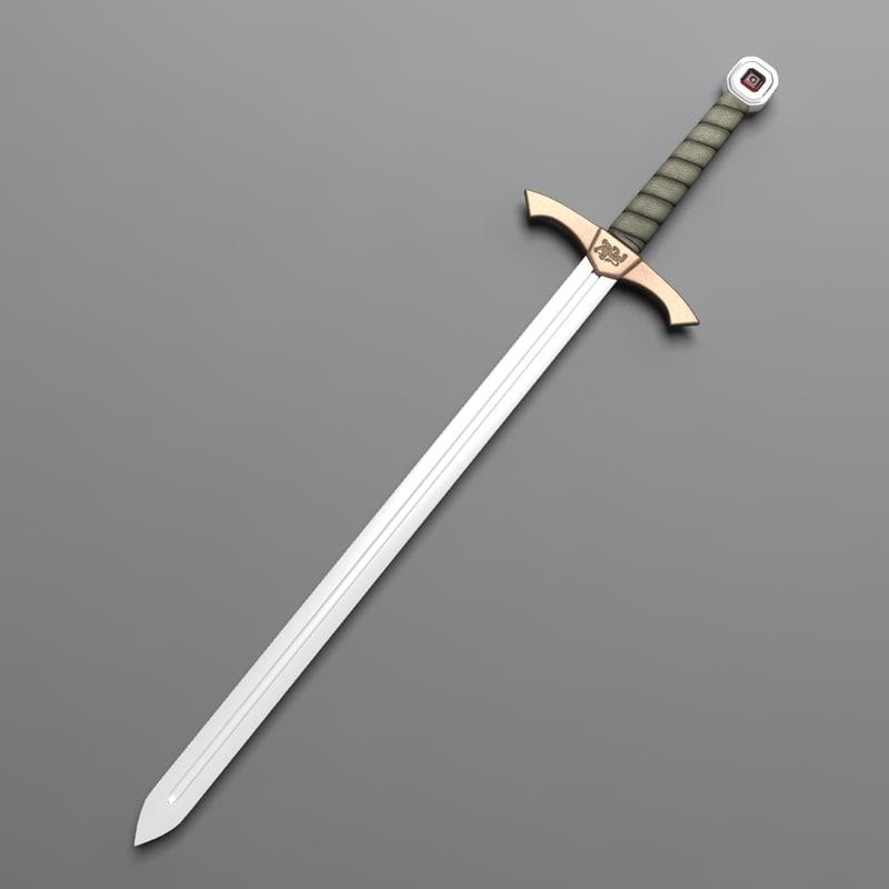 3d model of medieval knight sword