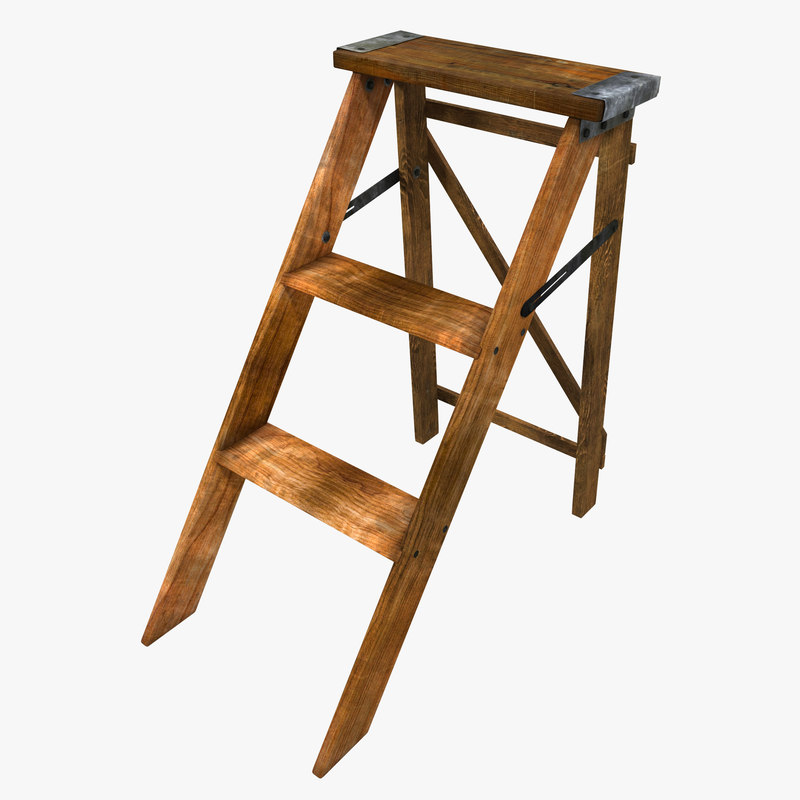 Old wooden step ladder 3d 3ds for Old wooden ladder projects