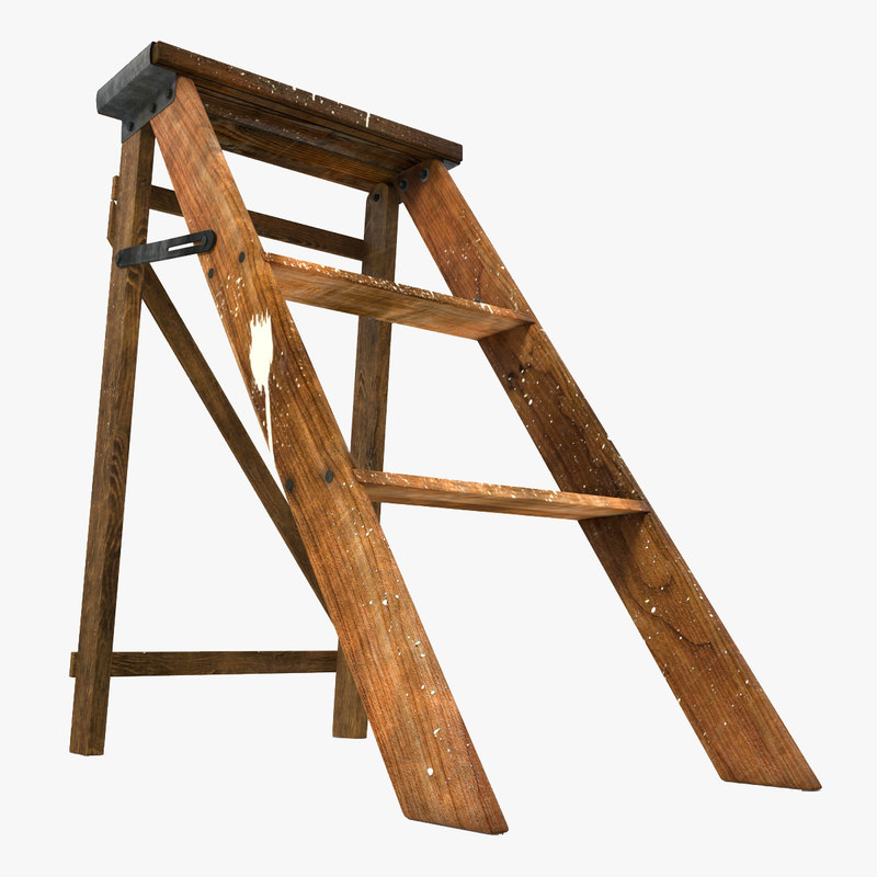 3d old wooden step ladder model for Old wooden ladder projects