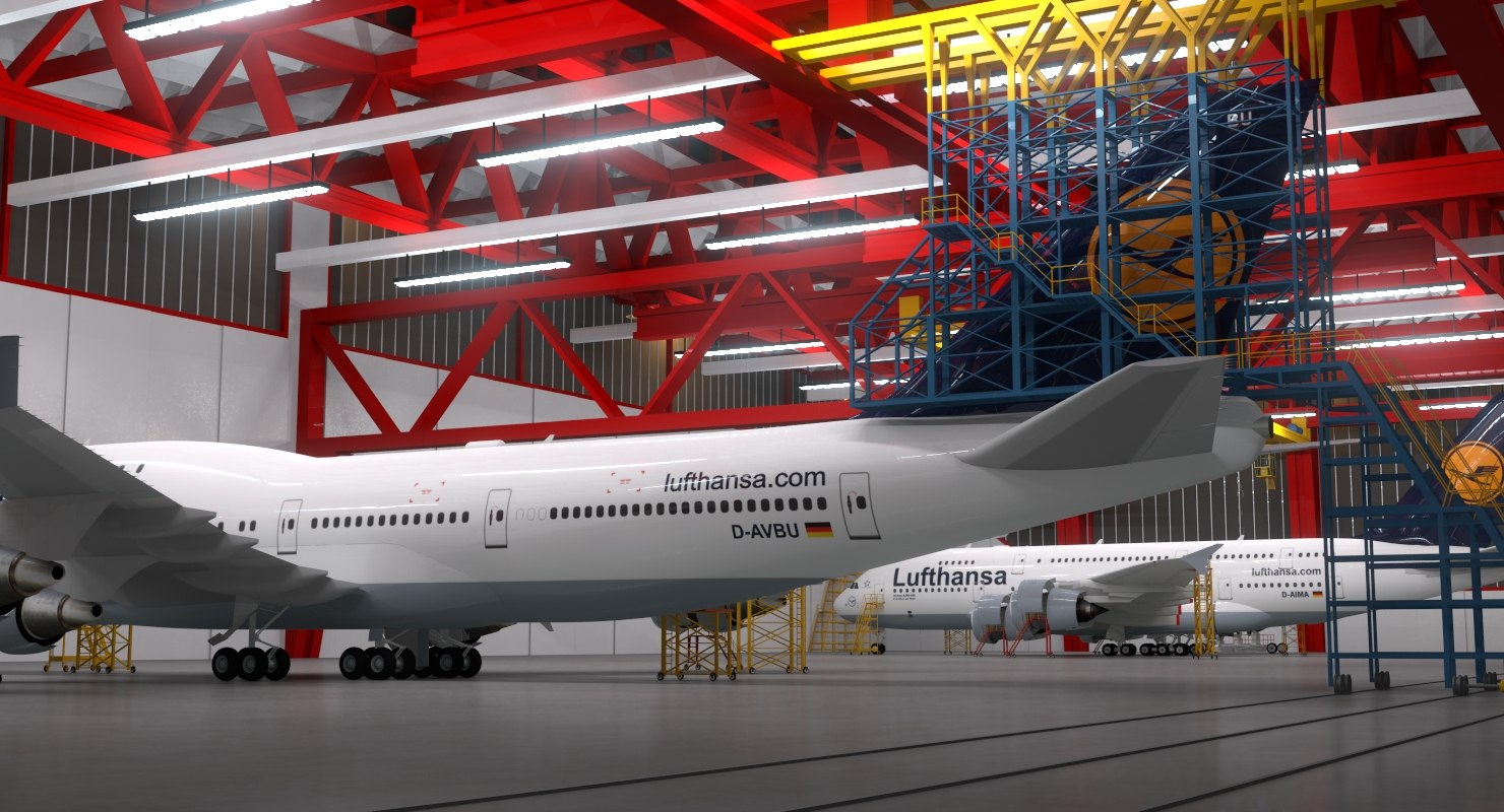 3d Model Aircraft Maintenance Hangar A380