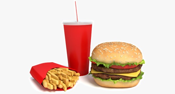 Burger Fries and Drink 3D Models
