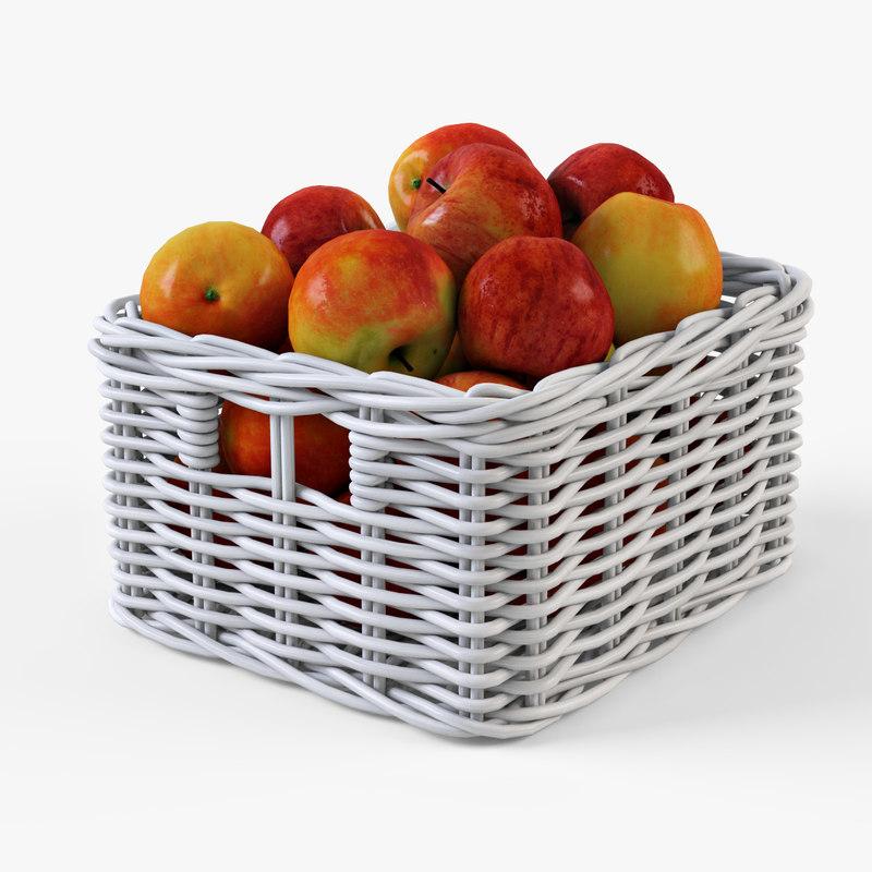 Wicker apple basket Ikea Byholma 1(white)