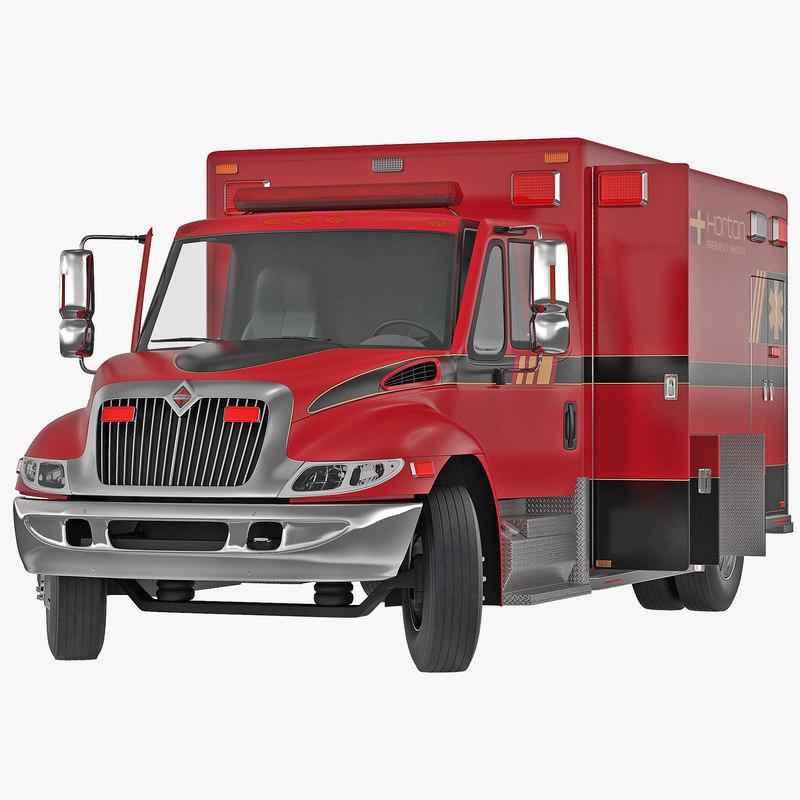 International Durastar Ambulance Red Rigged 3d model 000.jpg