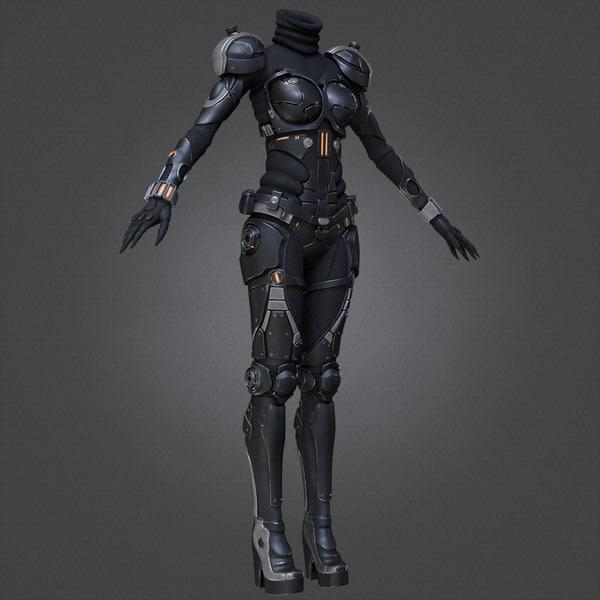 Sci-Fi Suit Female 3D Models