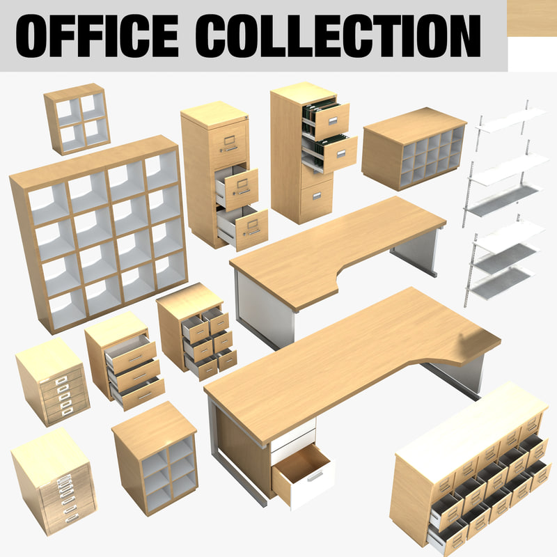 Modern contemporary office furniture 3d 3ds for Modern home office furniture collections