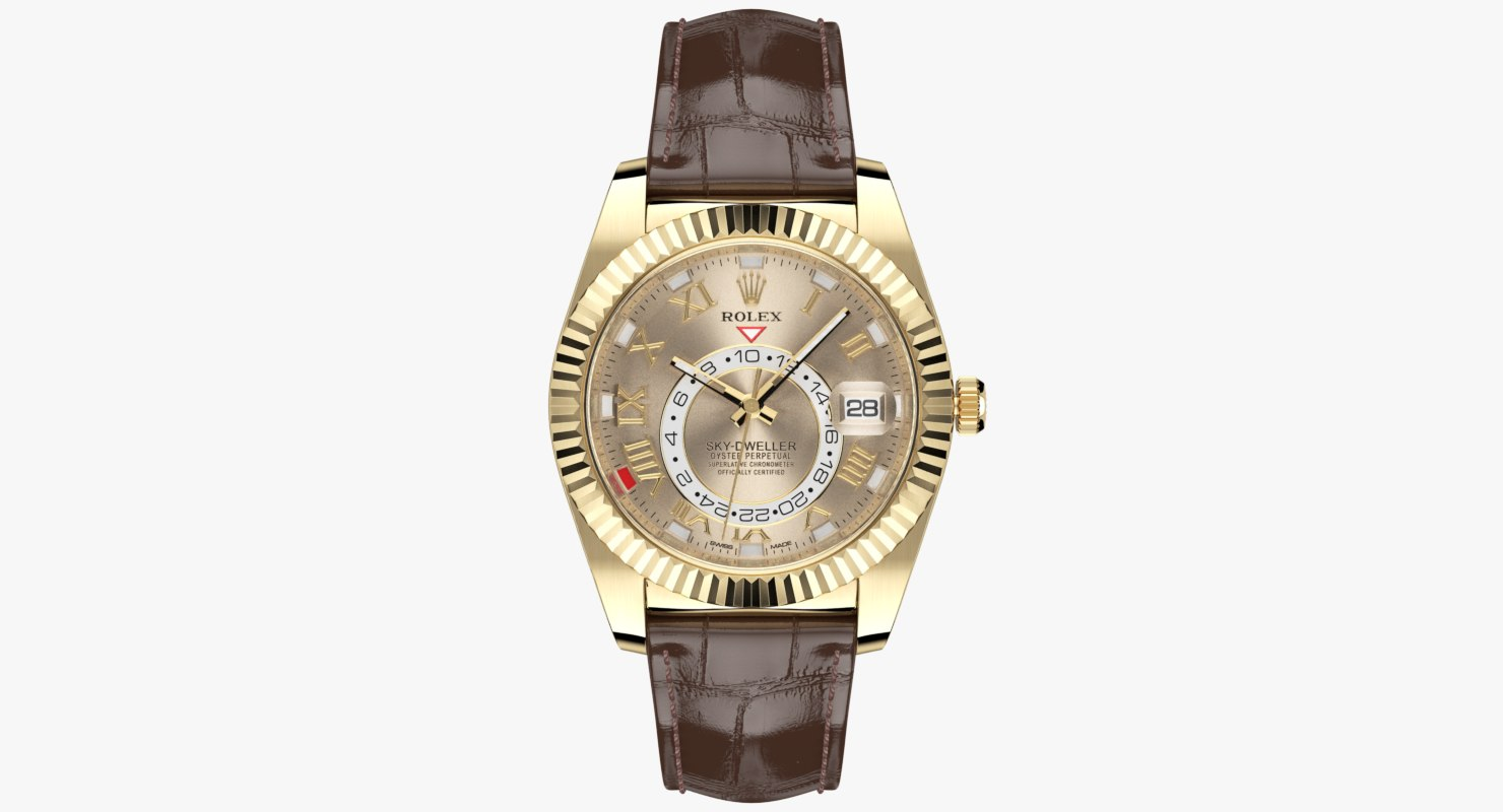 Rolex Sky-Dweller Yellow Gold Leather Strap