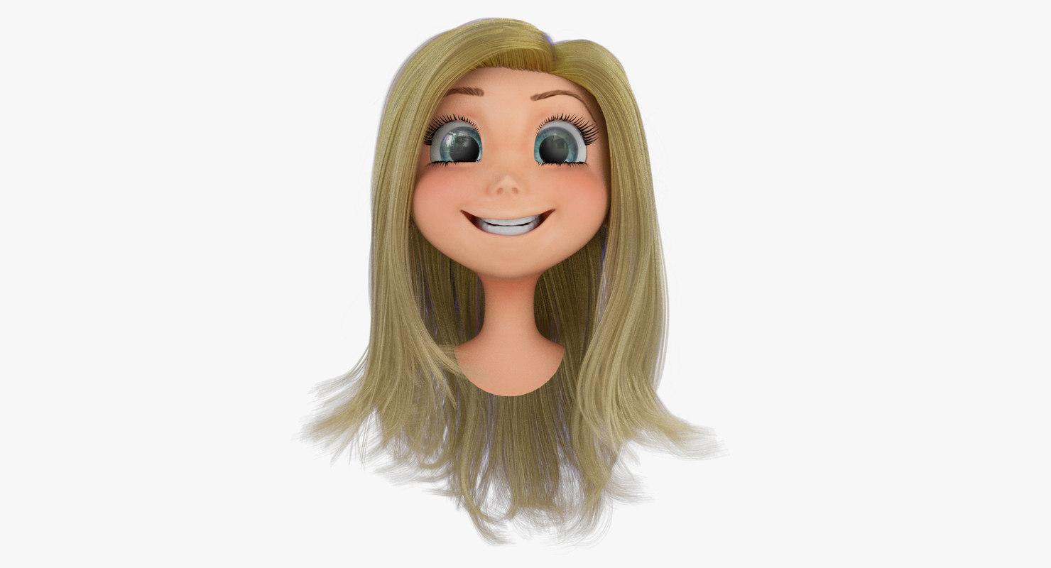 Rigged Cartoon Girl Head A