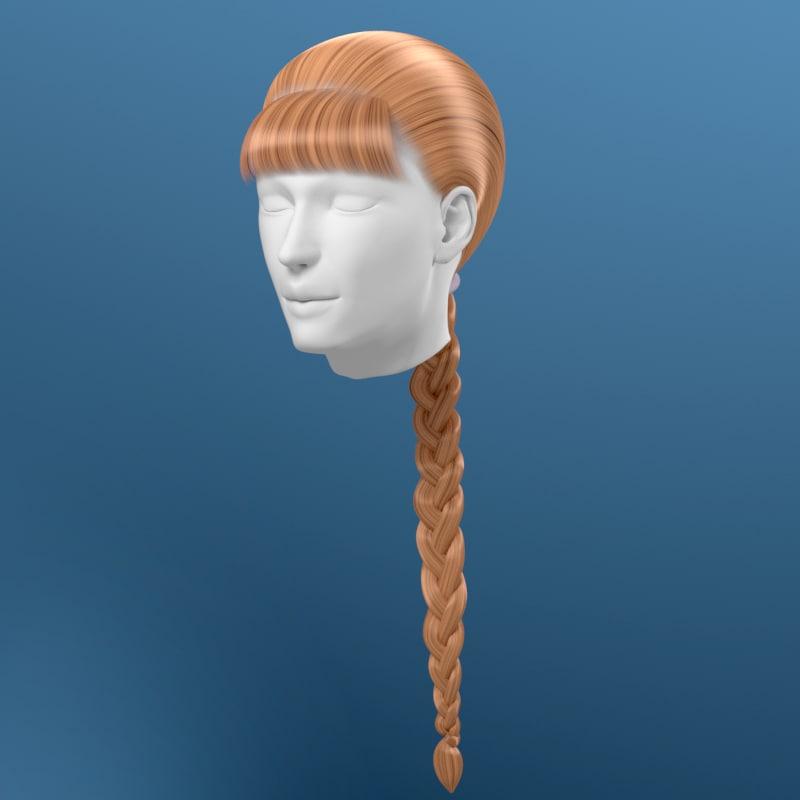 hair braid 3d model