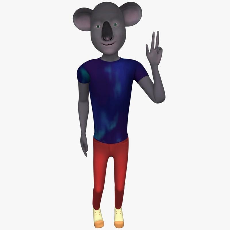 3d cartoon character hipster koala