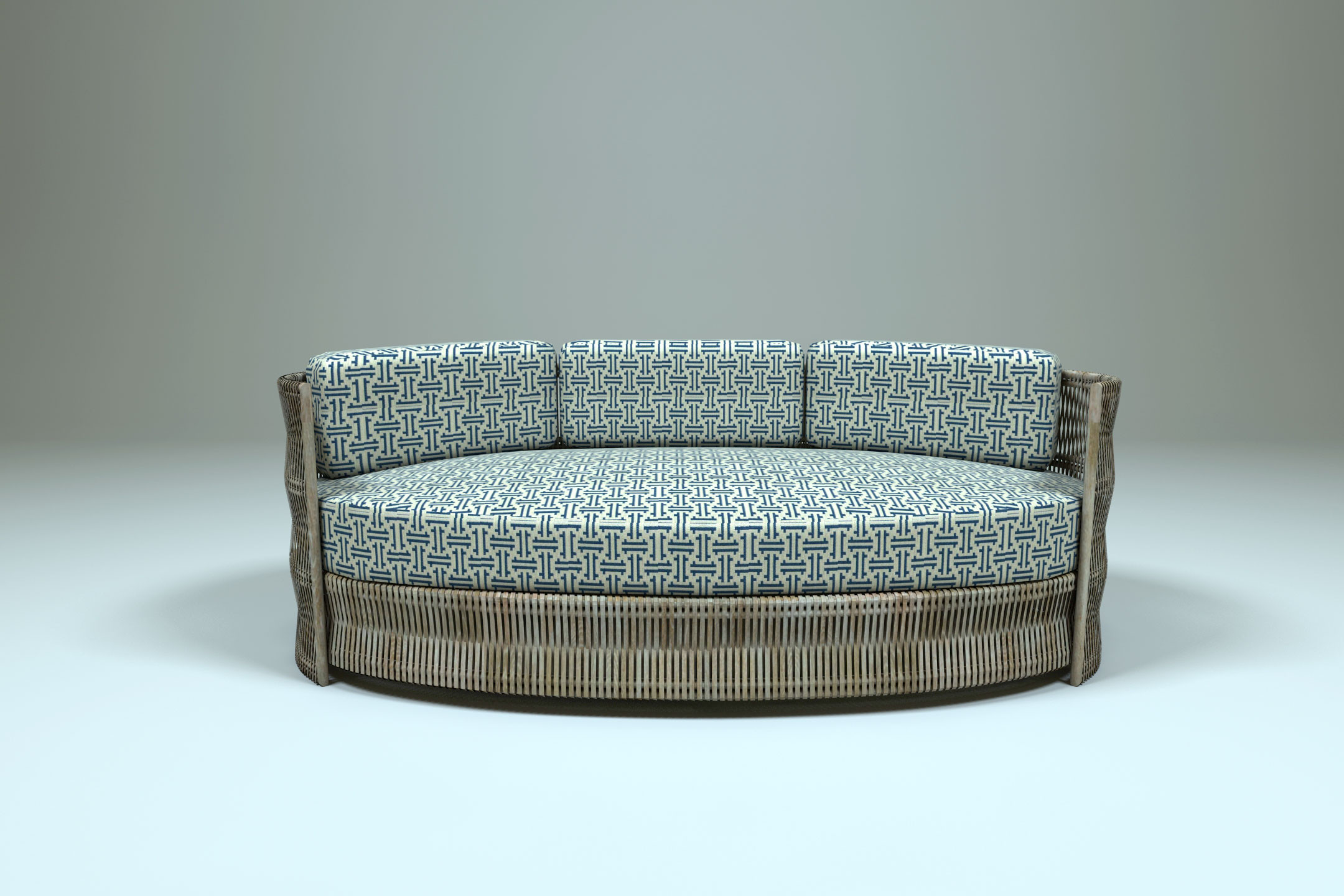 3d oval sofa outdoor scene. Black Bedroom Furniture Sets. Home Design Ideas