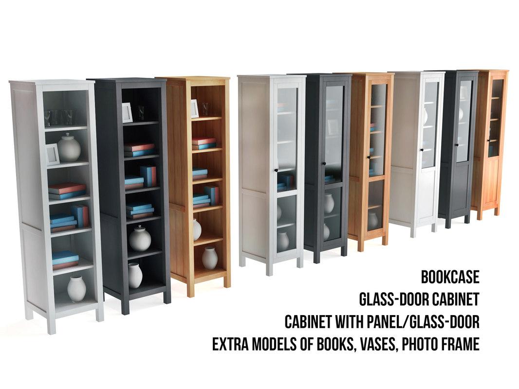 3d model ikea bookcase glass door cabinet