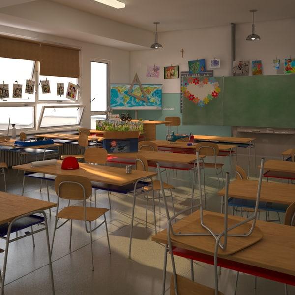Cartoon Classroom Scene 3D Models