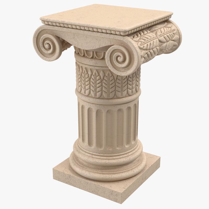 3ds Max Ionic Order Column Pedestal