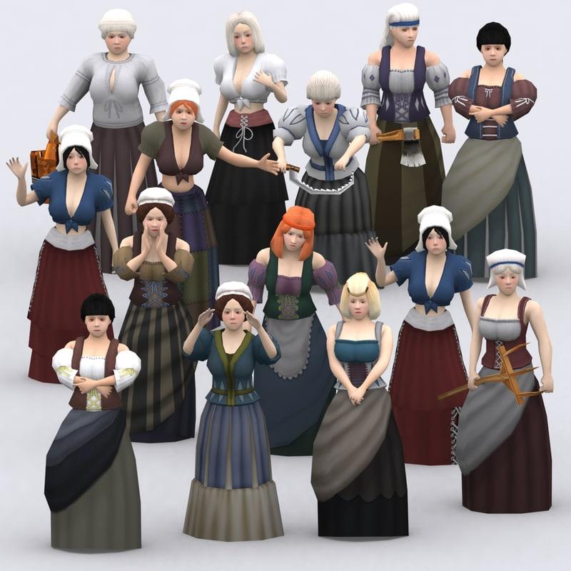 3DRT - Medieval Peasants Females Construction Kit