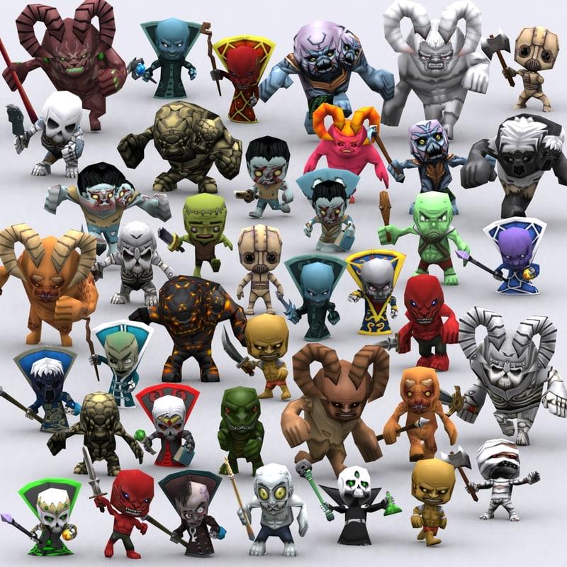 3DRT-Chibii monsters pack