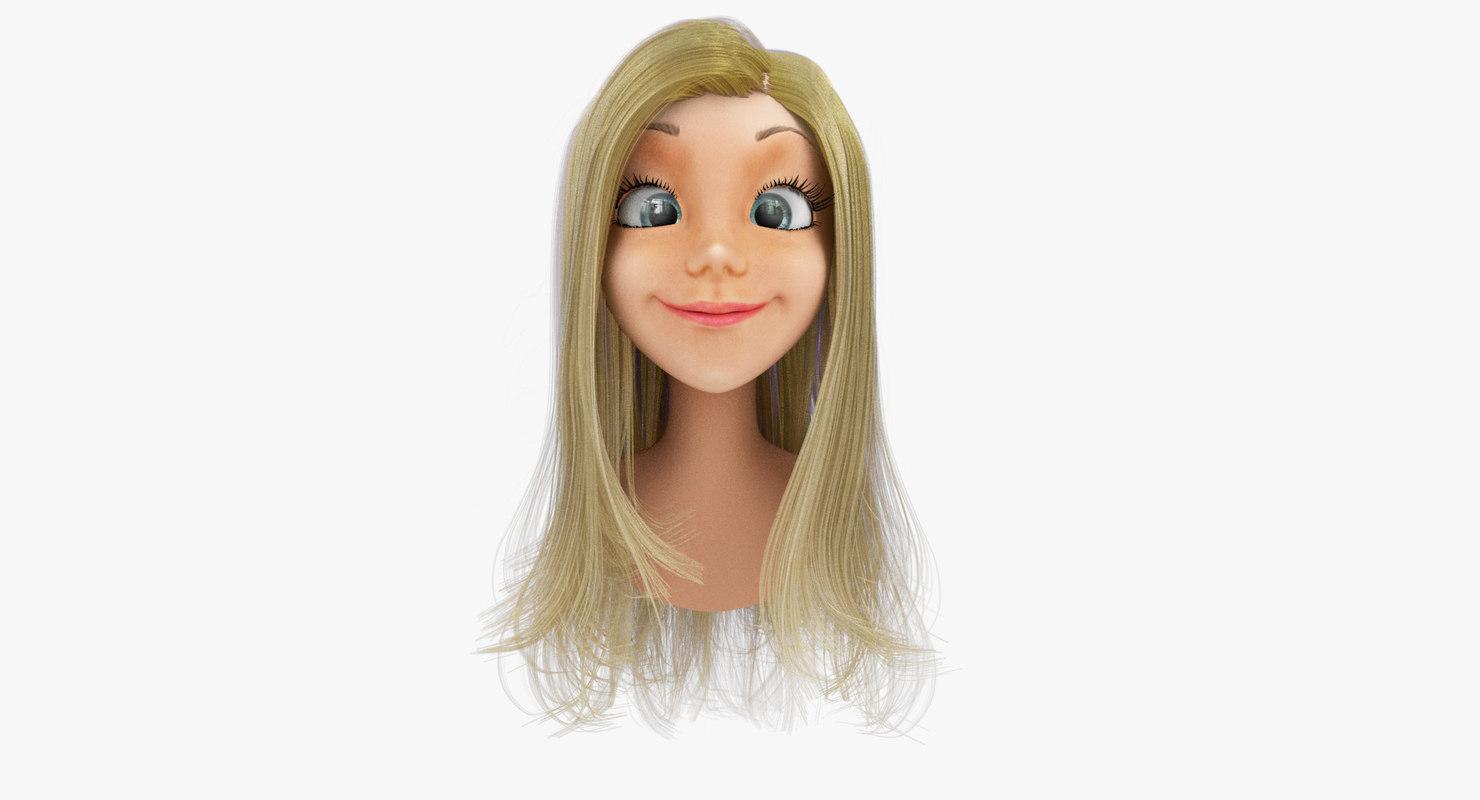 Rigged Cartoon Woman Head A