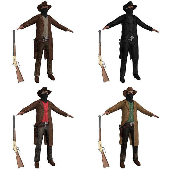 Cowboy Outlaws PACK 3D Models