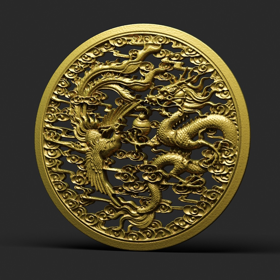 Dragon and phoenix statue