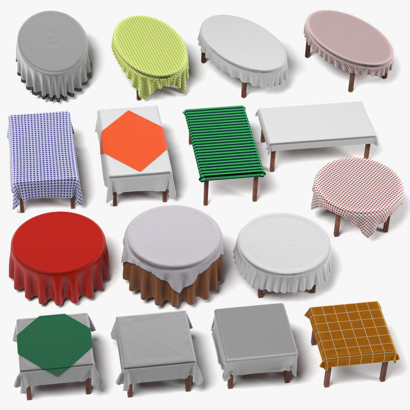 Tables with Tableclothes Large Set