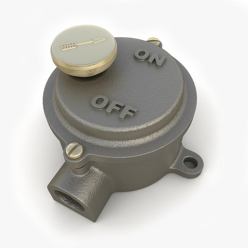 Vintage Industrial Light Switch: 3d Model Vintage Iron Cast Industrial