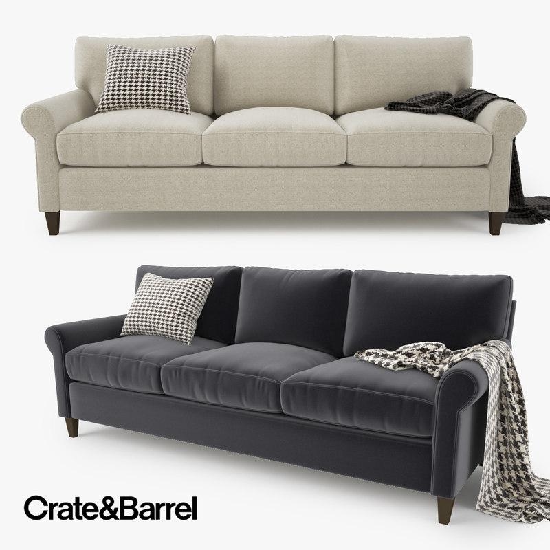 Quality Of Crate And Barrel Furniture: 3d Model Crate Barrel Montclair Sofa