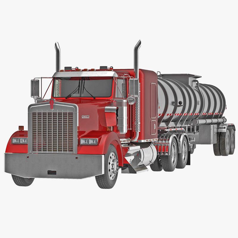 Truck Kenworth W900 and Tank Trailer