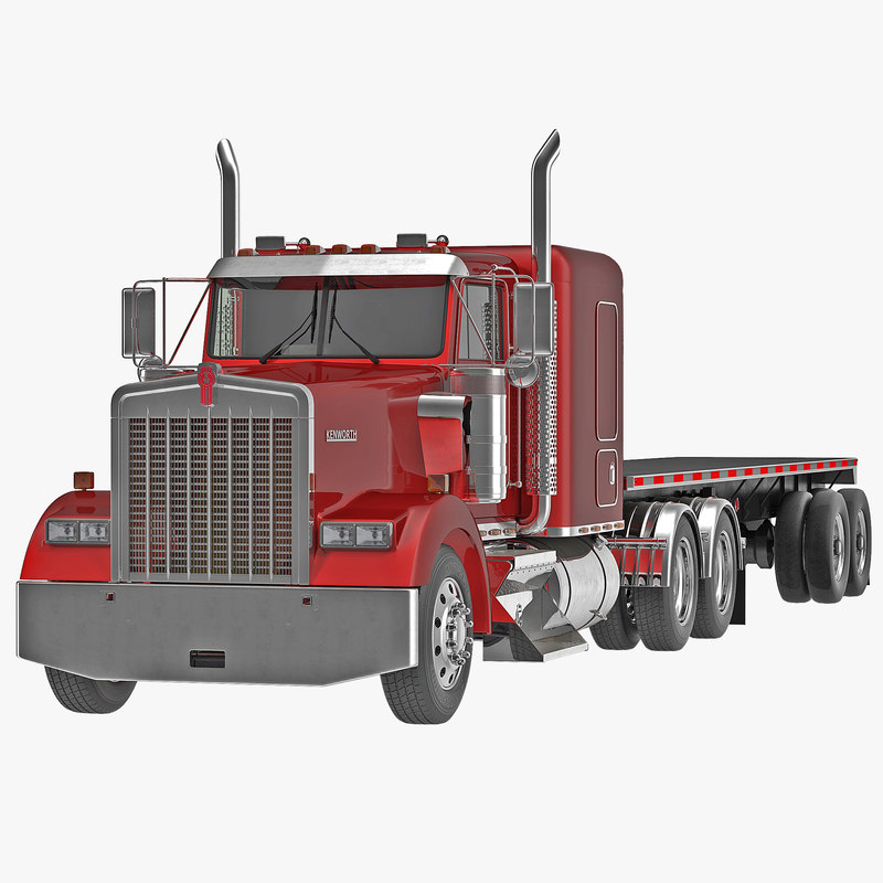 Truck Kenworth W900 and Flatbed Trailer 3d model 001.jpg