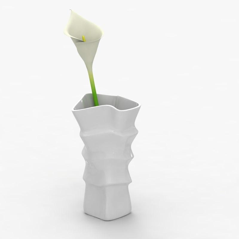 Modern vase 031 with flower