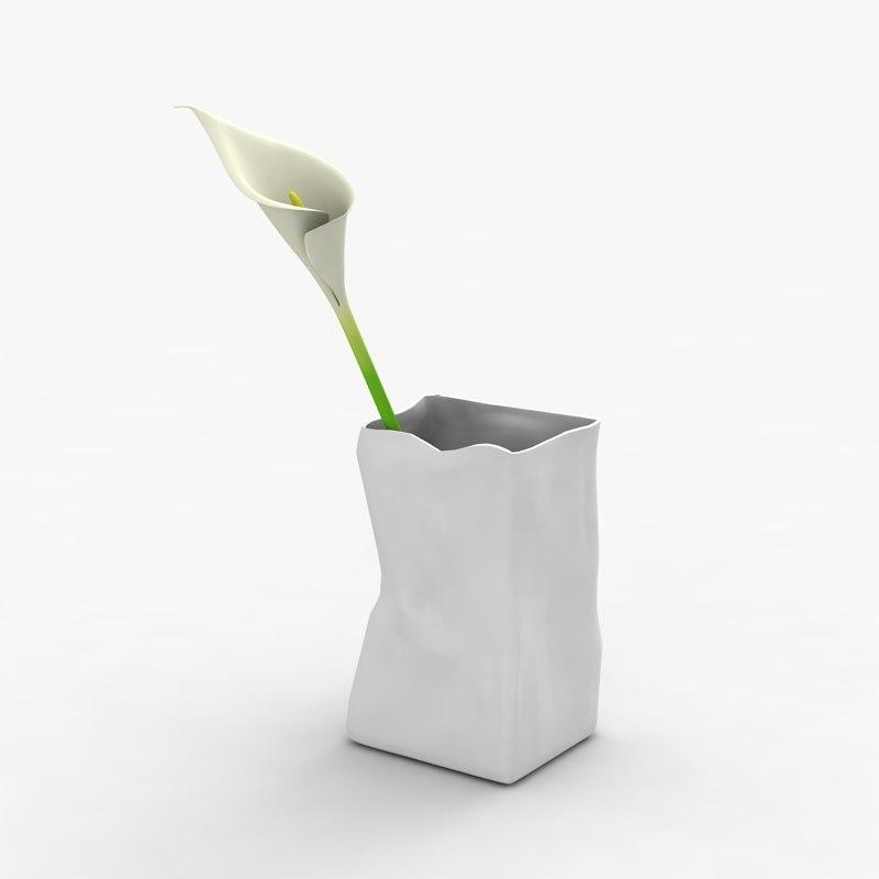 Modern vase 033 with flower