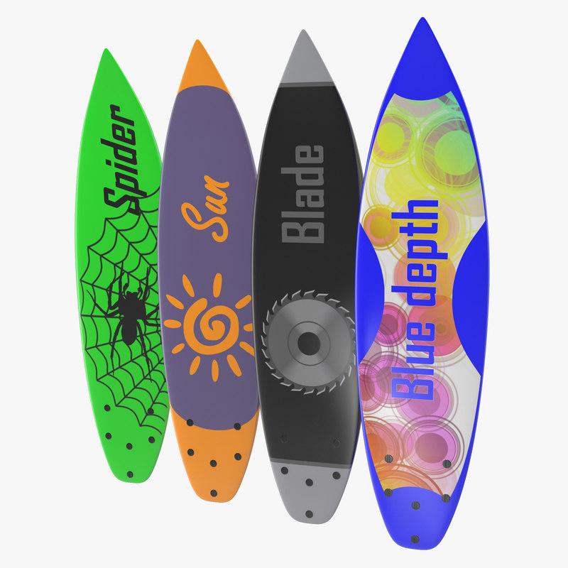 Surfboard Shortboard Set 3d models 01.jpg