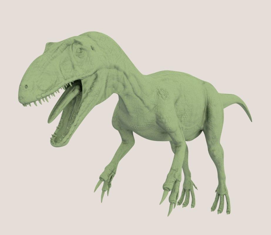 medium poly allosaurus dinosaur model