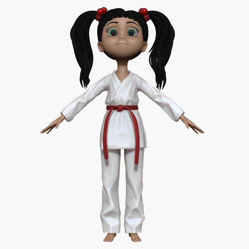 sculpt cartoon karate girl 3d model