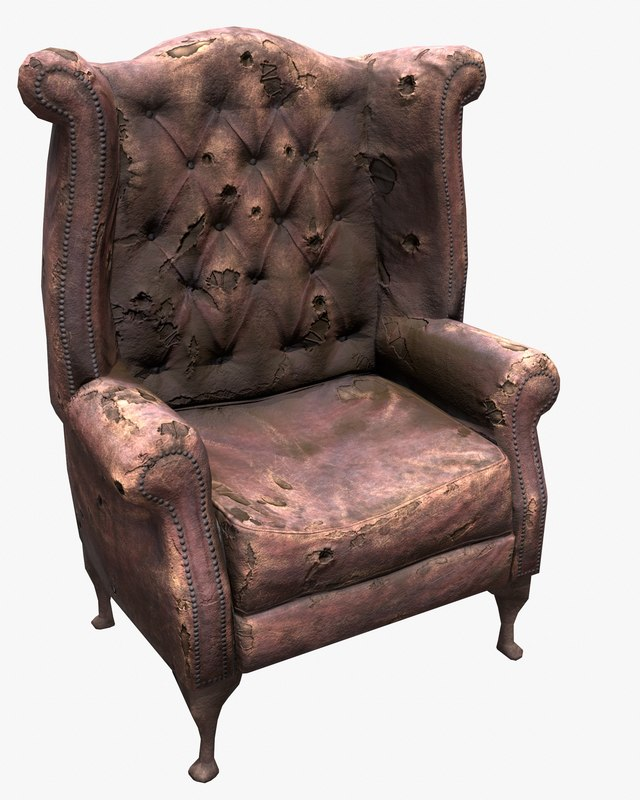 Old Leather Chair - Game Ready