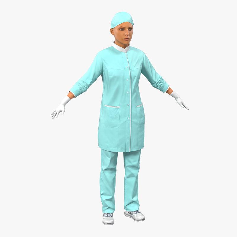 3d model of Female Surgeon Mediterranean 01.jpg