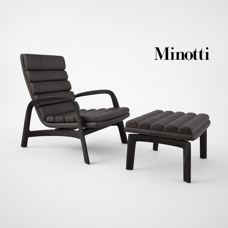 Minotti Saville Armchair and Stool1.jpg