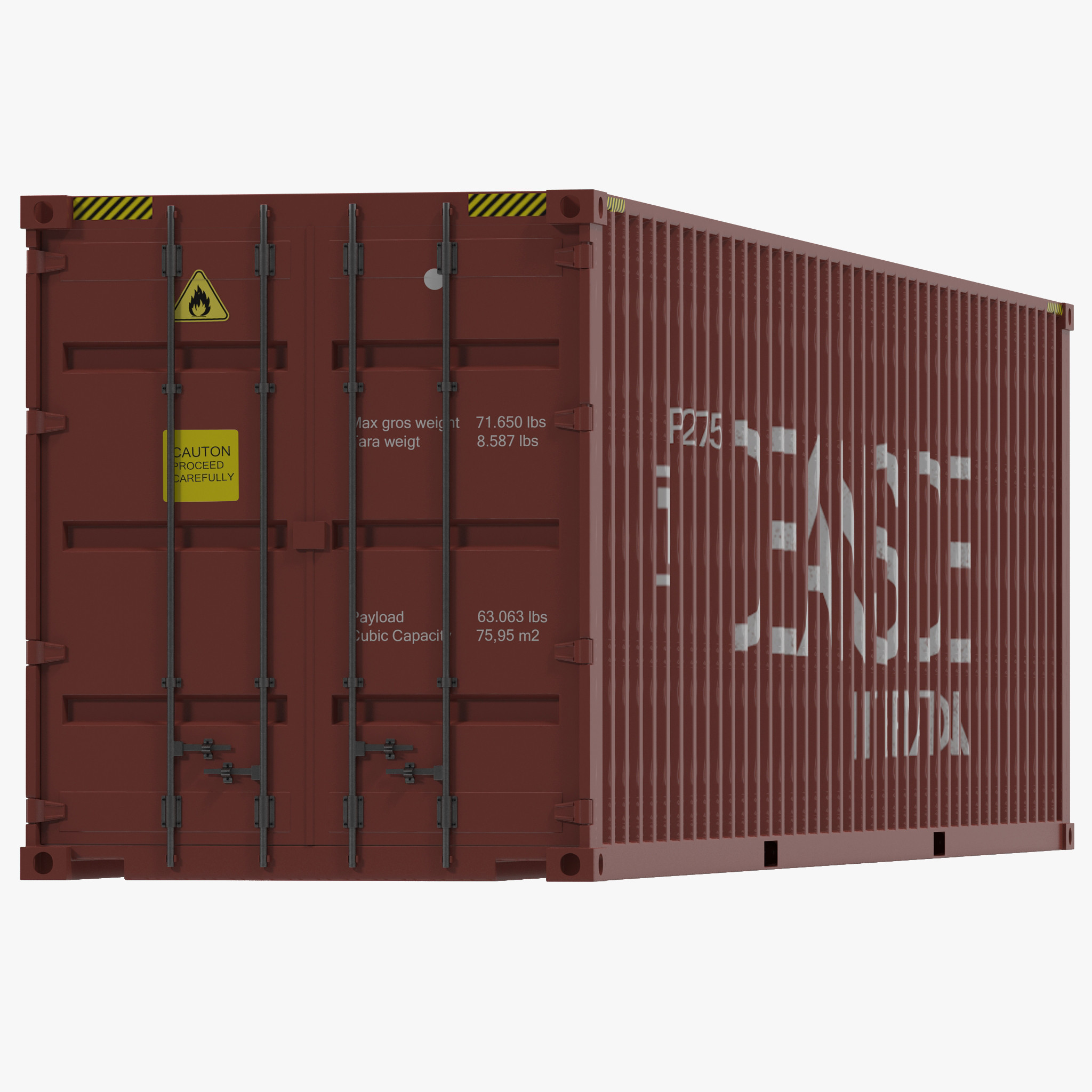 40 ft High Cube Container Red 3d model 01.jpg