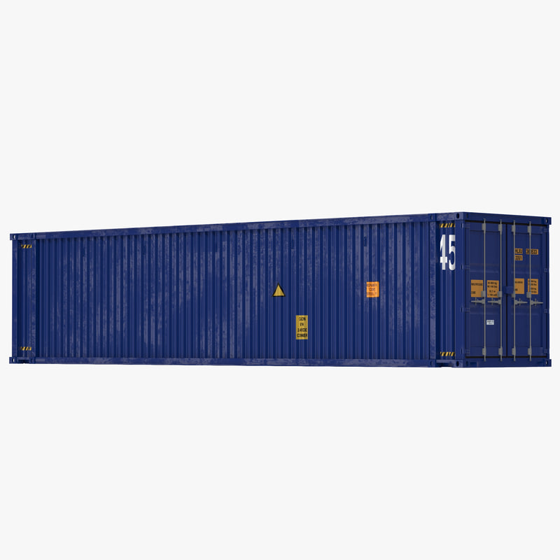 3d model of 45 ft High Cube Container Blue 01.jpg