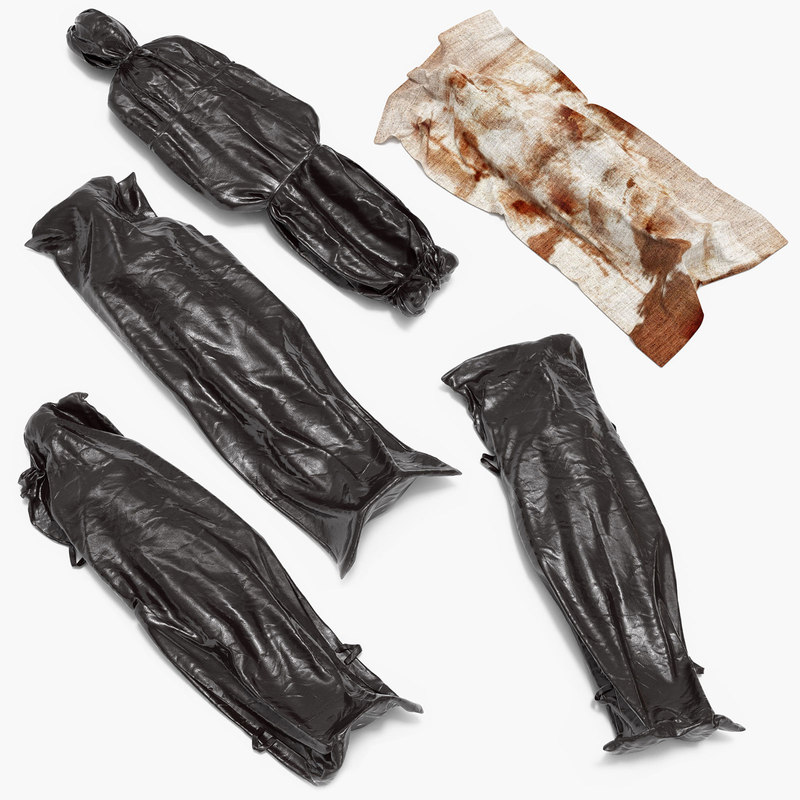 3d model of corpses body bags dead