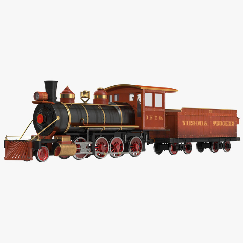 Steam Train with Wagon 3d model 01.jpg