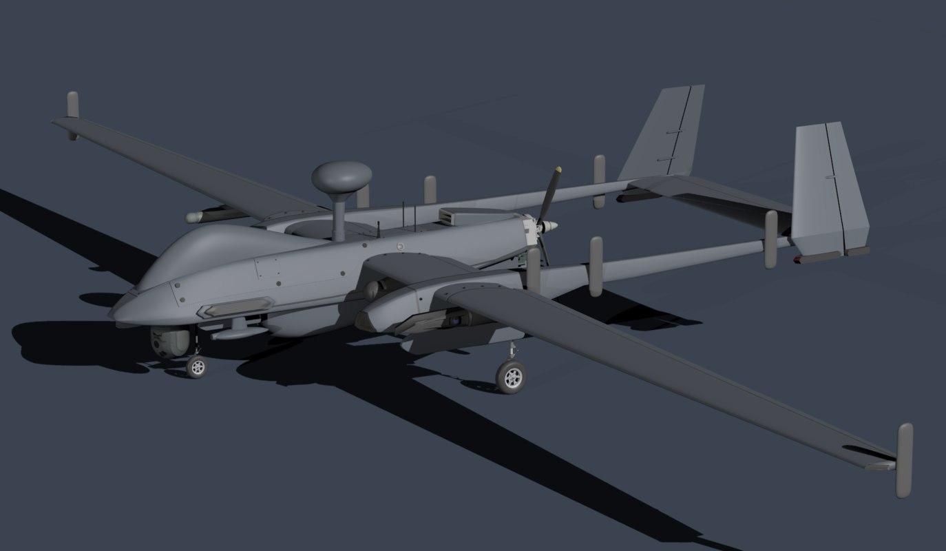 3d model iai heron uavs