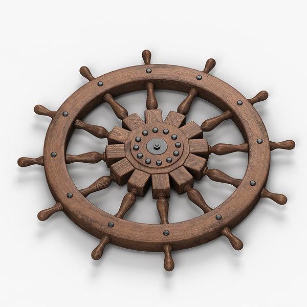 Sailing Boat Steering Wheel 3D Models